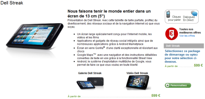 Dell Streak 5″ : Disponible en noir sur le site officiel