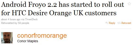 HTC Desire : La mise à jour d'Orange bientôt en France ?