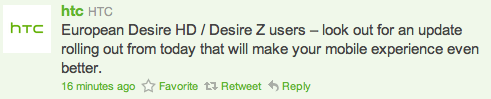 Les HTC Desire, Z et HD reçoivent une OTA