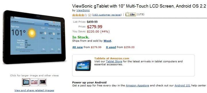 La ViewSonic gTablet 10″ (Tegra 2 et Android 2.2) à 279$