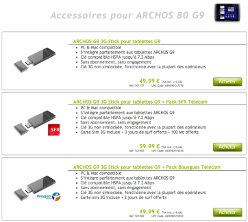 Les clés 3G pour les Archos Gen9 sont à présent disponibles