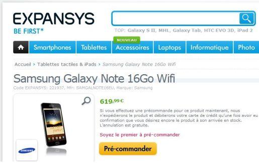 Les pré-commandes du Samsung Galaxy Note Wi-Fi ont débuté sur Expansys