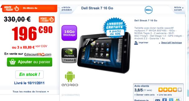 Vente flash : la Dell Streak à moins de 200 euros…