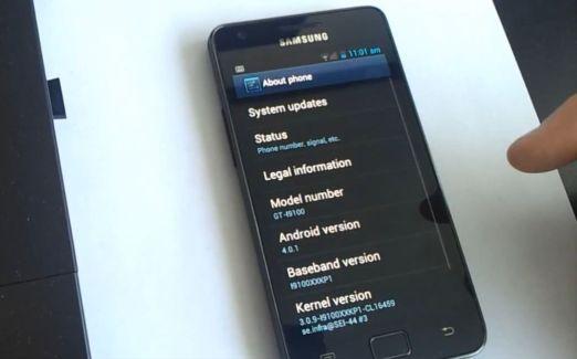 Un premier aperçu d'Android ICS + TouchWiz sur le Galaxy S II
