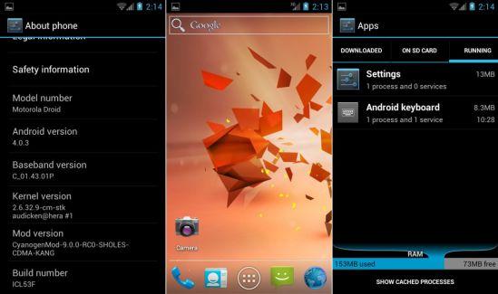 Démonstration d'Android ICS sur le Motorola Droid (Milestone)