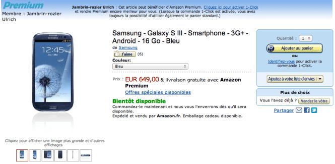 Samsung Galaxy S III annoncé chez SFR, Bouygues Telecom et Amazon FR, DE et UK