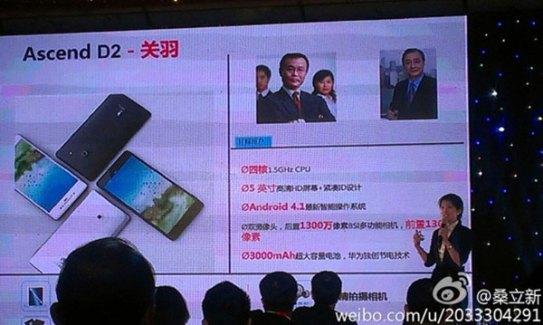 Huawei annonce l'Ascend D2, une tablette-smartphone de 5 pouces