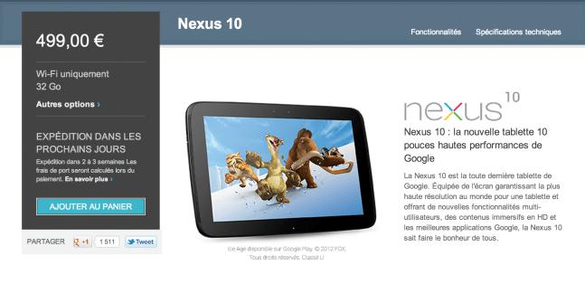La Nexus 10 est à nouveau disponible sur le Play Store