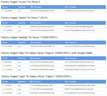 Les images de restauration d'Android 4.2.1 sont arrivées sur Galaxy Nexus, Nexus 4 et Nexus 7