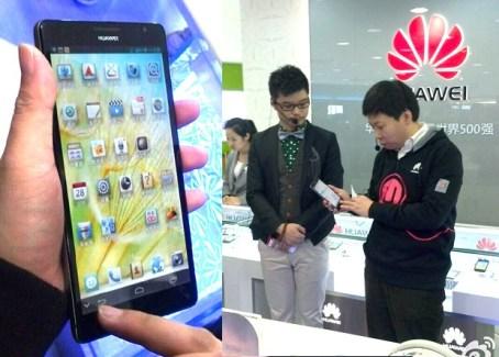 Un représentant de Huawei montre le Ascend Mate (smartphone 6,1 pouces) avant son annonce au CES