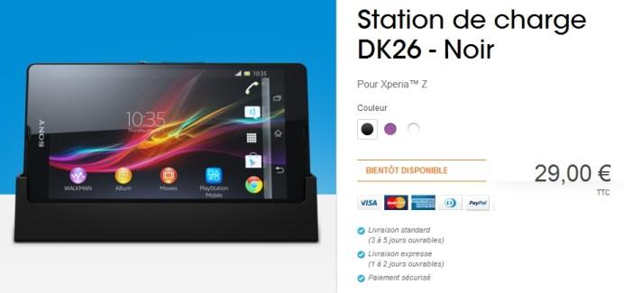 La station de charge du Sony Xperia Z est référencée dans la boutique Sony