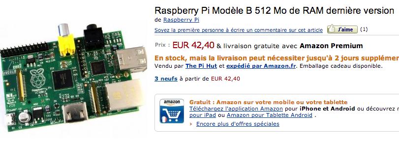 Raspberry Pi à 42,40 euros sur Amazon