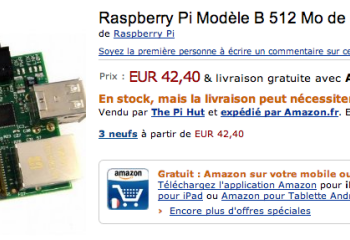 Raspberry Pi à 42,40 euros sur Amazon