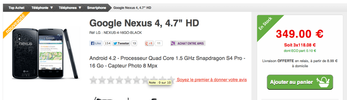 Nexus 4 : Disponible chez Top Achat, au même prix que le Google Play et avec livraison en Belgique