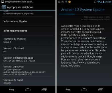 Android 4.3 : une mise à jour mineure arrive sur la gamme Google Nexus