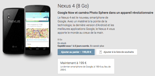 Google Play : le Nexus 4 cèdera bientôt sa place !