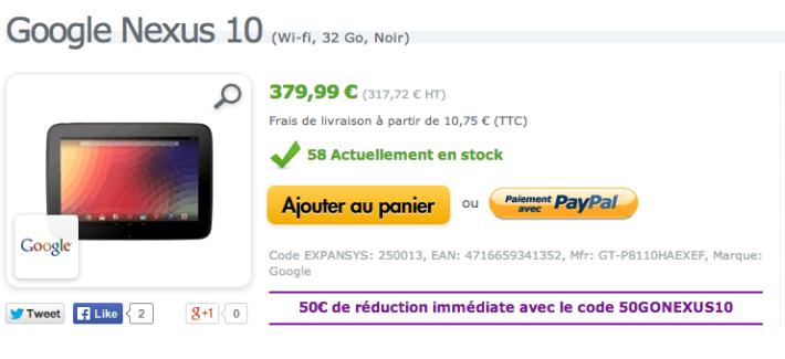 Bon plan : Nexus 10 (32 Go) à moins de 330 euros