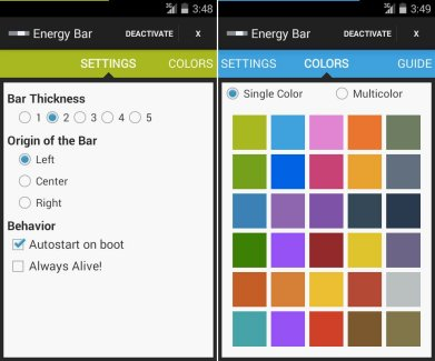 Energy Bar : customisez en couleurs votre indicateur de batterie