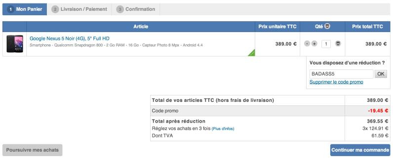 Bon plan : Le Nexus 5 à 319,55 euros