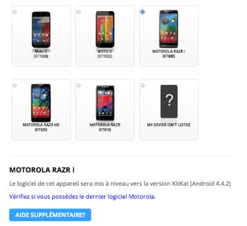 Le Motorola RAZR i aura sa part de KitKat (Android 4.4.2)