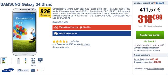 Bon plan : Samsung Galaxy S4 à 319 euros chez Cdiscount