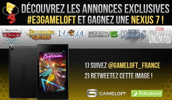 Pendant l'E3, jouez pour gagner une Nexus 7 avec Gameloft !