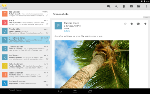 Google publie son application E-mail sur le Play Store