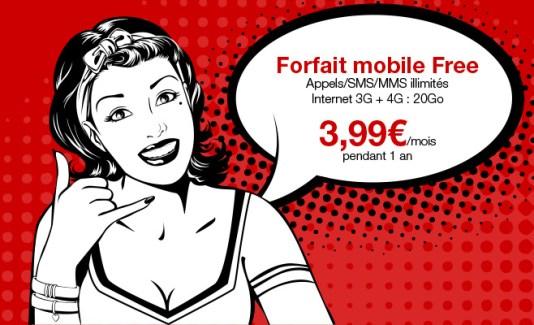 Bon Plan : le forfait illimité de Free Mobile à 3,99 € au lieu de 19,99 € par mois
