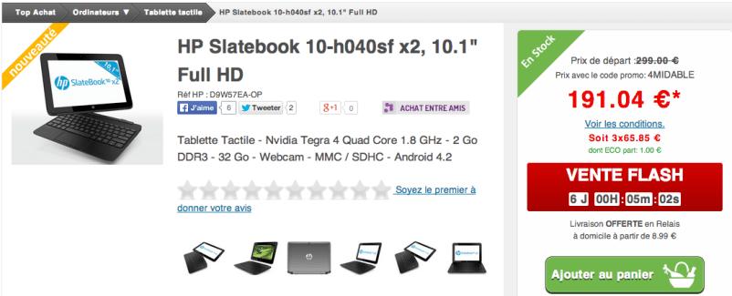 La HP Slatebook 10 x2 sous Tegra 4 à moins de 200 euros
