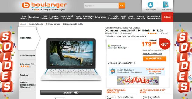 Soldes : HP Chromebook à 180 euros
