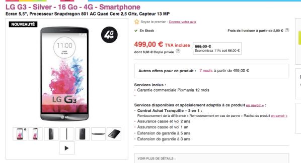 Bon plan : LG G3 (16Go) à partir de 450 euros