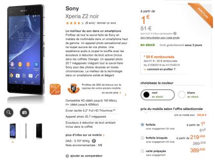 Bon plan : Le Sony Xperia Z2 à 389,90 euros chez Orange