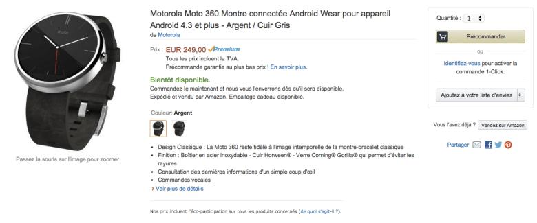 La Moto 360 en pré-commande sur Amazon à 249 euros
