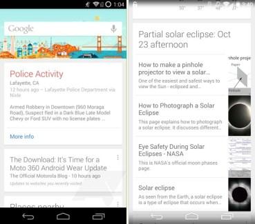 Google Now affiche des cartes sur les éclipses et l'activité policière