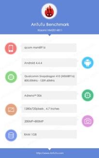 Xiaomi : la fiche technique d'un mobile aperçue sur AnTuTu