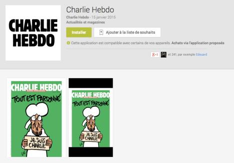 Charlie Hebdo est officiellement disponible sur le Play Store (mais aussi Windows Store et iTunes)