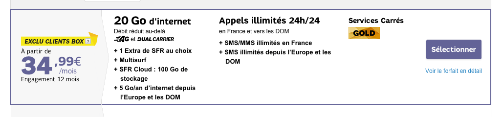 SFR lance un forfait avec 20 Go de 4G… à 24,99 euros par mois