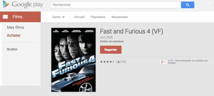 Fast and Furious 4 est gratuit sur le Google Play