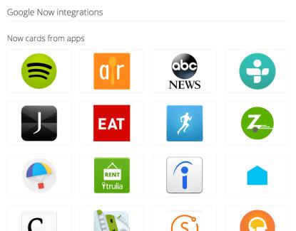 Google Now intègre 70 nouvelles applications