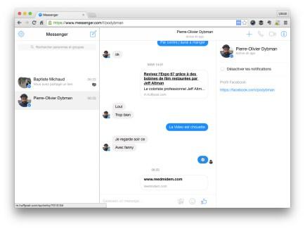 Facebook Messenger est désormais sur le web