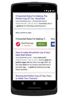 Google Search vous propose d'installer des applications en rapport avec vos recherches