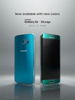 Le Samsung GalaxyS6 est maintenant disponible en bleu topaze et vert émeraude