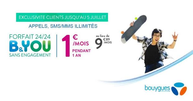 [MàJ] Bouygues Telecom lance une vente flash sur son forfait appels/SMS illimités à 1 euro par mois