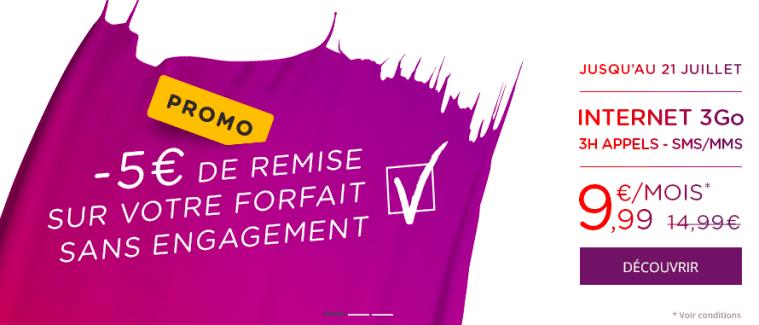Bon plan : Virgin Mobile propose 5 euros de promotion à vie sur son forfait 3h + 3Go
