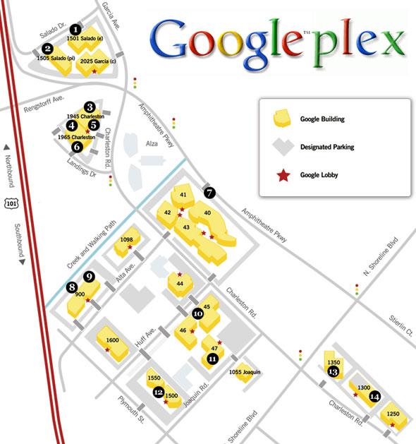 Découvrez les Googleplex (les bureaux de Google) !