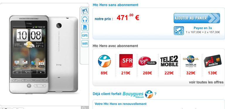 Le HTC Hero à partir de 89 euros chez PhoneAndPhone