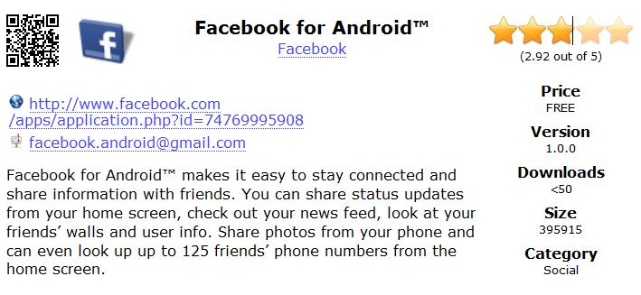 Attention : l'application Facebook for Android n'est pas développée par Facebook