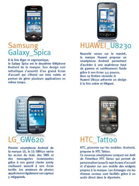 Bouygues Telecom prépare sa fin d'année 2009 : Samsung Spica, LG GW620, Huawei U8230, et HTC Tattoo