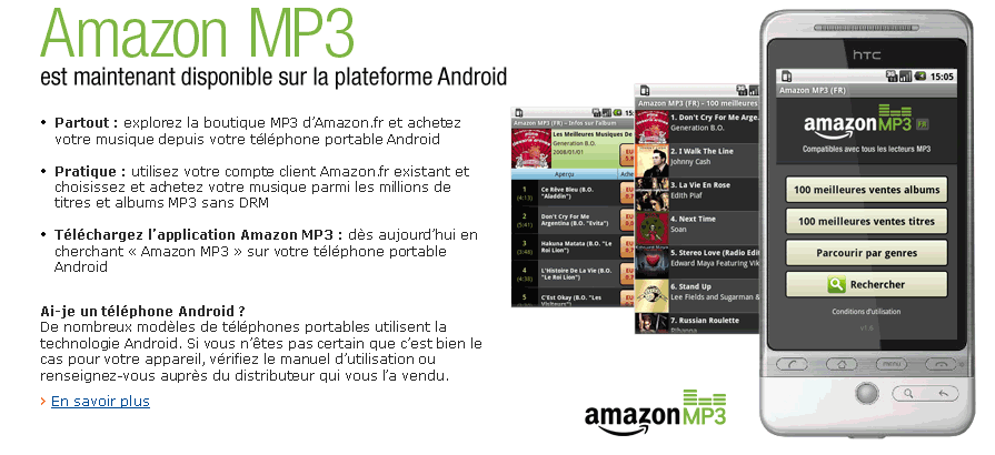 Amazon MP3 disponible sur Android : 10 millions de titres sans DRM