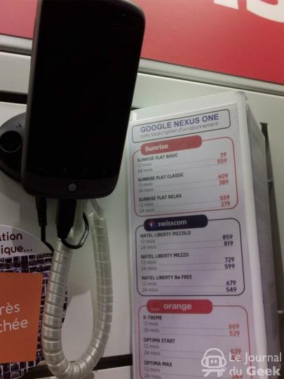 La Fnac Suisse commercialise le Nexus One